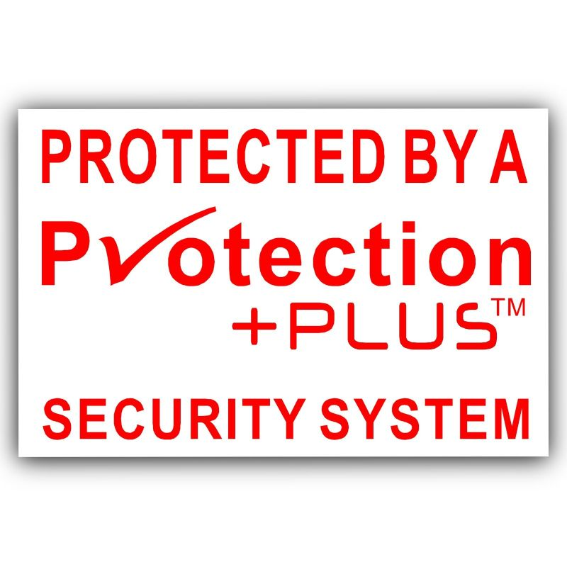 Protection PlusTM Design Red on White EXTERNAL Stickers-Alarm System Installed-Security Warning Stickers-Self Adhesive Vinyl Signs-Bell Box,Door
